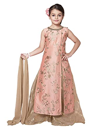 8105ac6a0142 Cartyshop New Embroidery Light Pink Heavy Chanderi Modal Kids Party Wear  Palazzo Suit Set for Girls