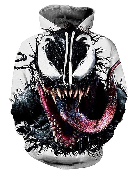 Sudadera Venom Niño Hombres Sudaderas sin Capucha 3D Unisex Impresión de Imitación Sudadera de Manga Larga