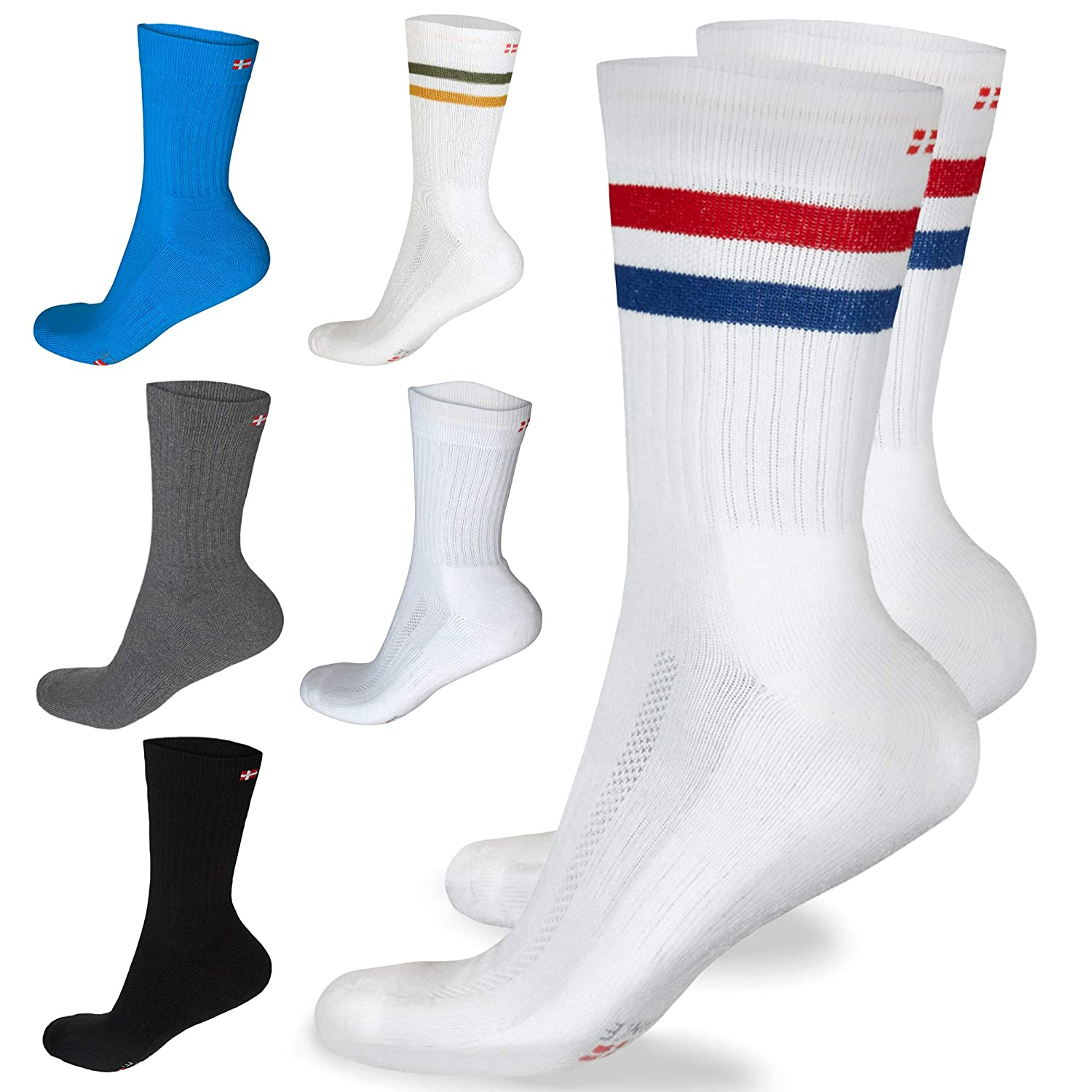 DANISH ENDURANCE Performance Crew Tennis Socks, Moisture Control, Soft Cushion, Multi-Pack, Men's & Women's