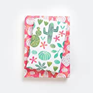 Cactus Watercolor/Blooming Succulents Designer Gift Wrap (6 Sheet Value Pack) - Reversible - Eco-friendly Wrapping Paper By Wrappily
