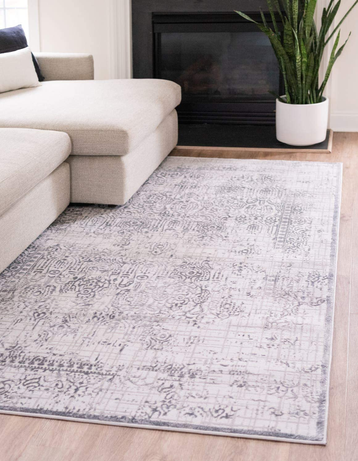 Unique Loom Aberdeen Collection Tone-on-Tone Traditional Textured Vintage Gray Area Rug 8 0 x 10 0