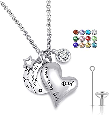 Amazon Com Urn Necklaces For Ashes I Love You To The Moon And Back For Dad Cremation Urn Locket Birthstone Jewelry April Urn Necklace Clothing