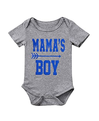 4e9cc612481d Amazon.com  Newborn Kid Boy Girl Bodysuits Mama s Boy Summer Baby ...
