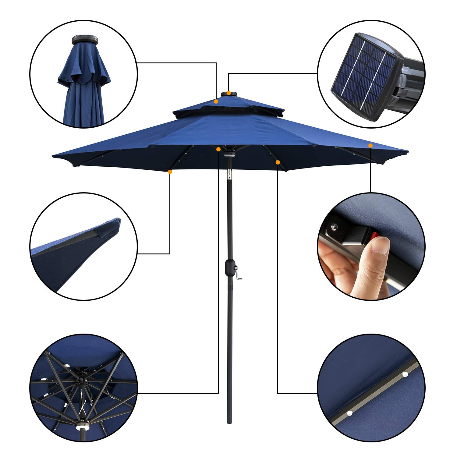 DOIT 9ft Solar LED Lighted Patio Table Umbrella with Crank and 8 Ribs,2 Layers with Ventilation,Tilt Adjustment Outdoor Umbrella with Fade Resistant Water Proof Fabric and Push Button,Without Base