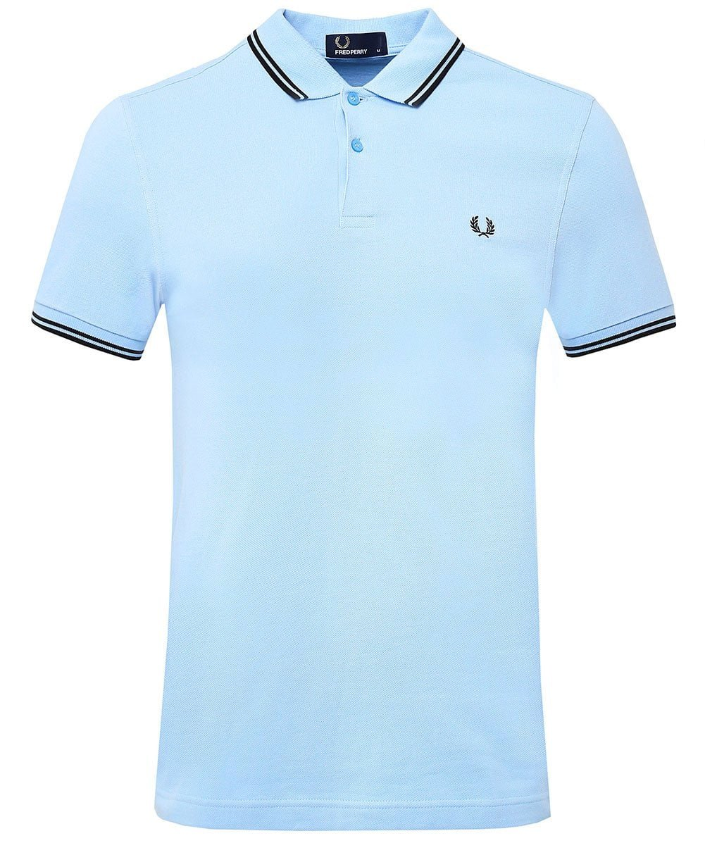 Fred Perry メンズ ポロシャツ ツインチップ B07CY291Z9 Large Sky Blue/Black Sky Blue/Black Large