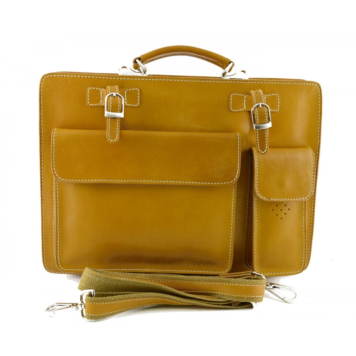 Made In Italy Genuine Leather Business Bag Mod. Medium Color Yellow - Business Bag B01MTGAP41