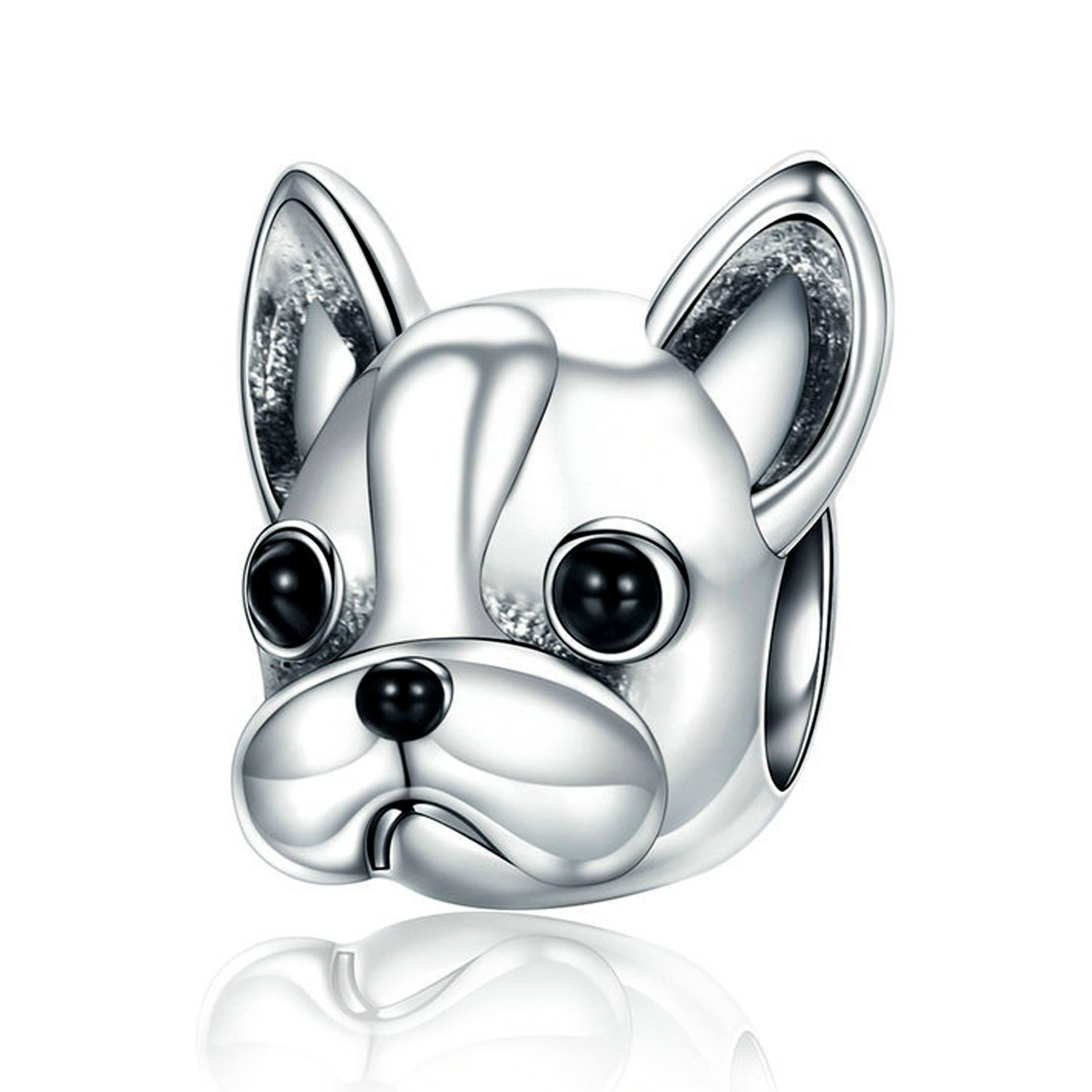 XingYue Jewelry 925 Sterling Silver Bulldog Bead Charms Puppy Dog Animal Vintage Charms Fit European Snake Chain Bracelet (Bulldog charm)