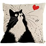 Singleluci Pillow Case, Cute Cat Cotton Sofa Waist Throw Cushion Cover (black and white)