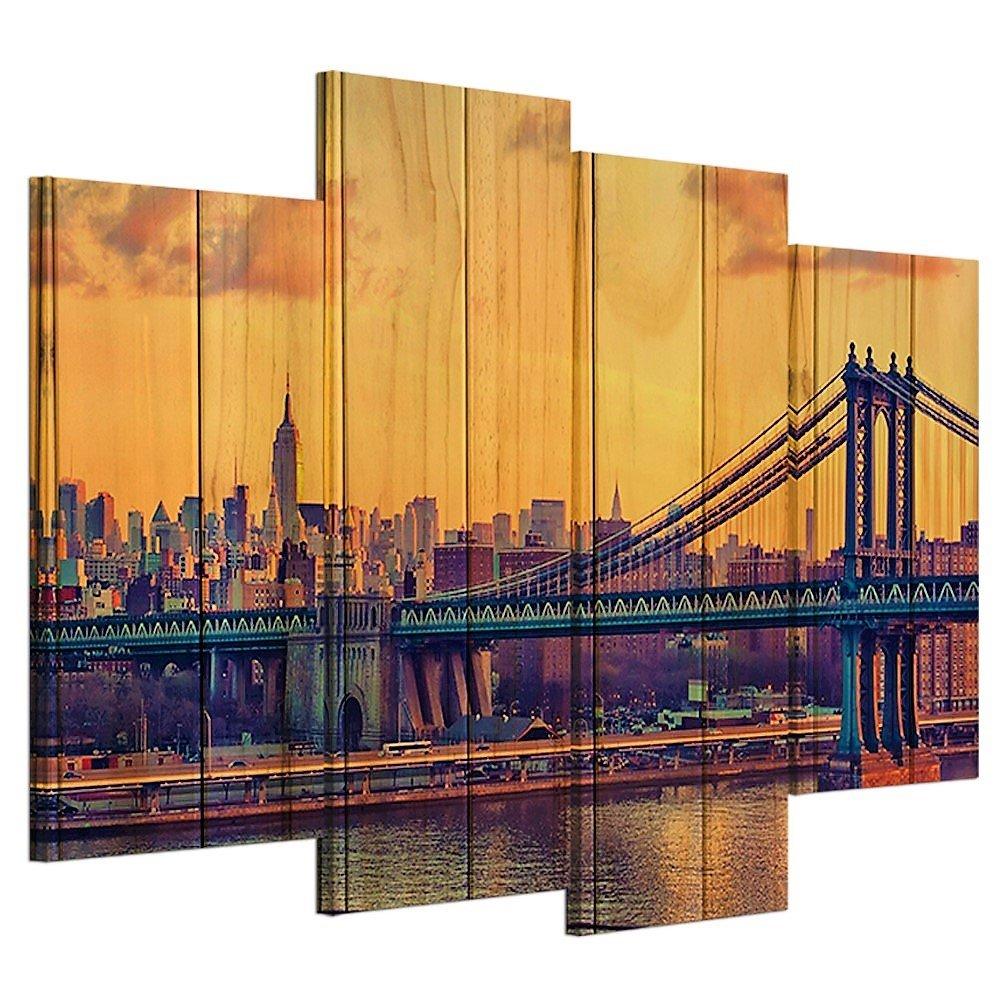 Amazon.com: 4 Piece Canvas Wall Art Brooklyn Bridge Wood Like Design ...