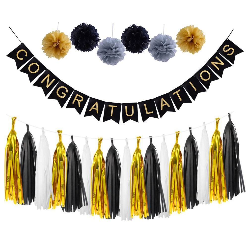 LOLOAJOY CONGRATULATIONS Banner Sign For Graduation Party Supplies Decoration Kit With Gold and black Tassel Garland Tissue Paper Pom Poms