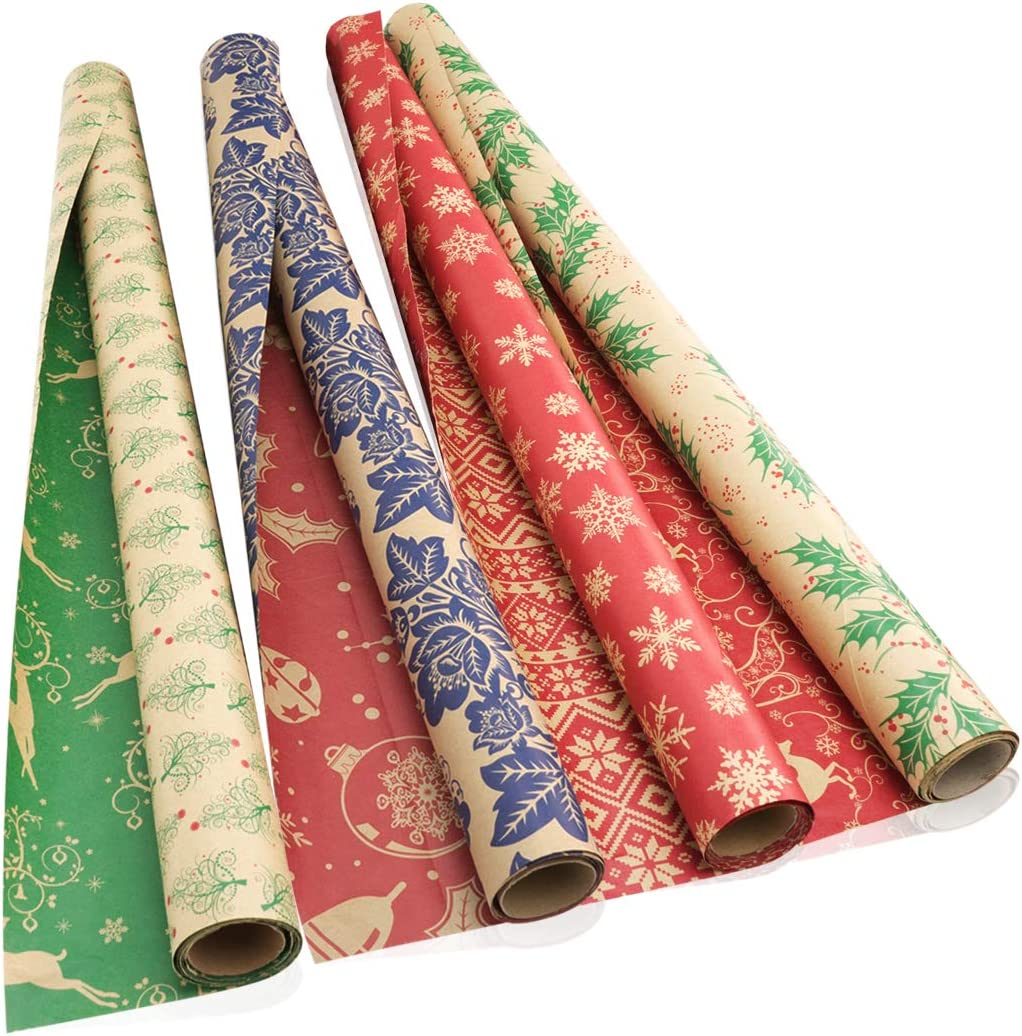 Gift Wrap Paper Pack of 8 30 in x 5 Ft Roll w// Ribbon