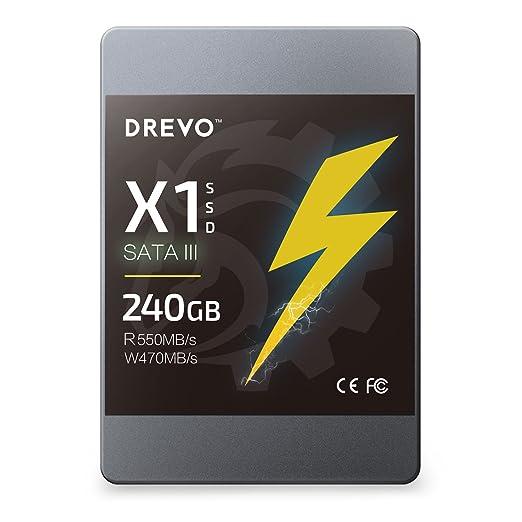 698 opinioni per DREVO X1 SSD Memoria a Stato Solido 240 GB SATA3 lettura 550MB / s scrittura 470