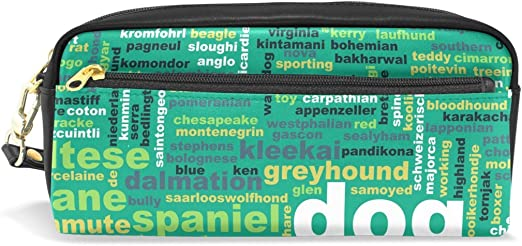 coosun dibujo perro pastor alemán portátil piel sintética estuche escolar pluma bolsas papelería funda gran capacidad de maquillaje bolsa: Amazon.es: Oficina y papelería