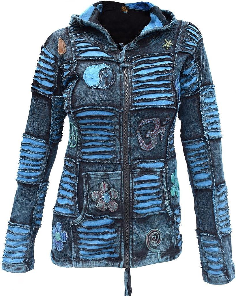 Women Om Goth Razor Cut Hoodie Festival Pixie Hippie Light Jacket