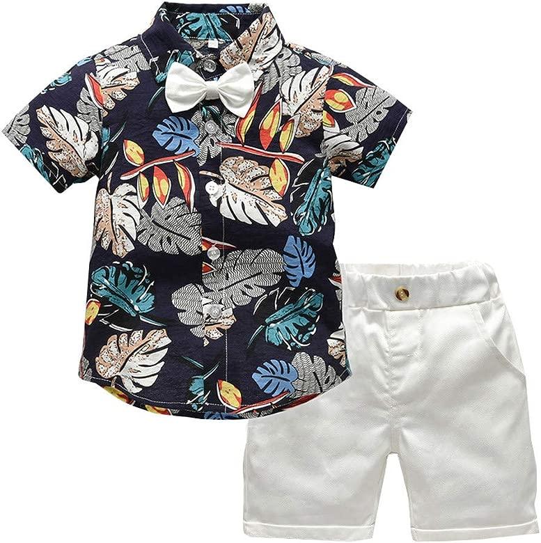 Innerternet-Traje de niño,(12 Meses-5 años de Edad) Moda Infantil de Verano Camisa de Caballero de Manga Corta de Estampado de Hojas de la ...