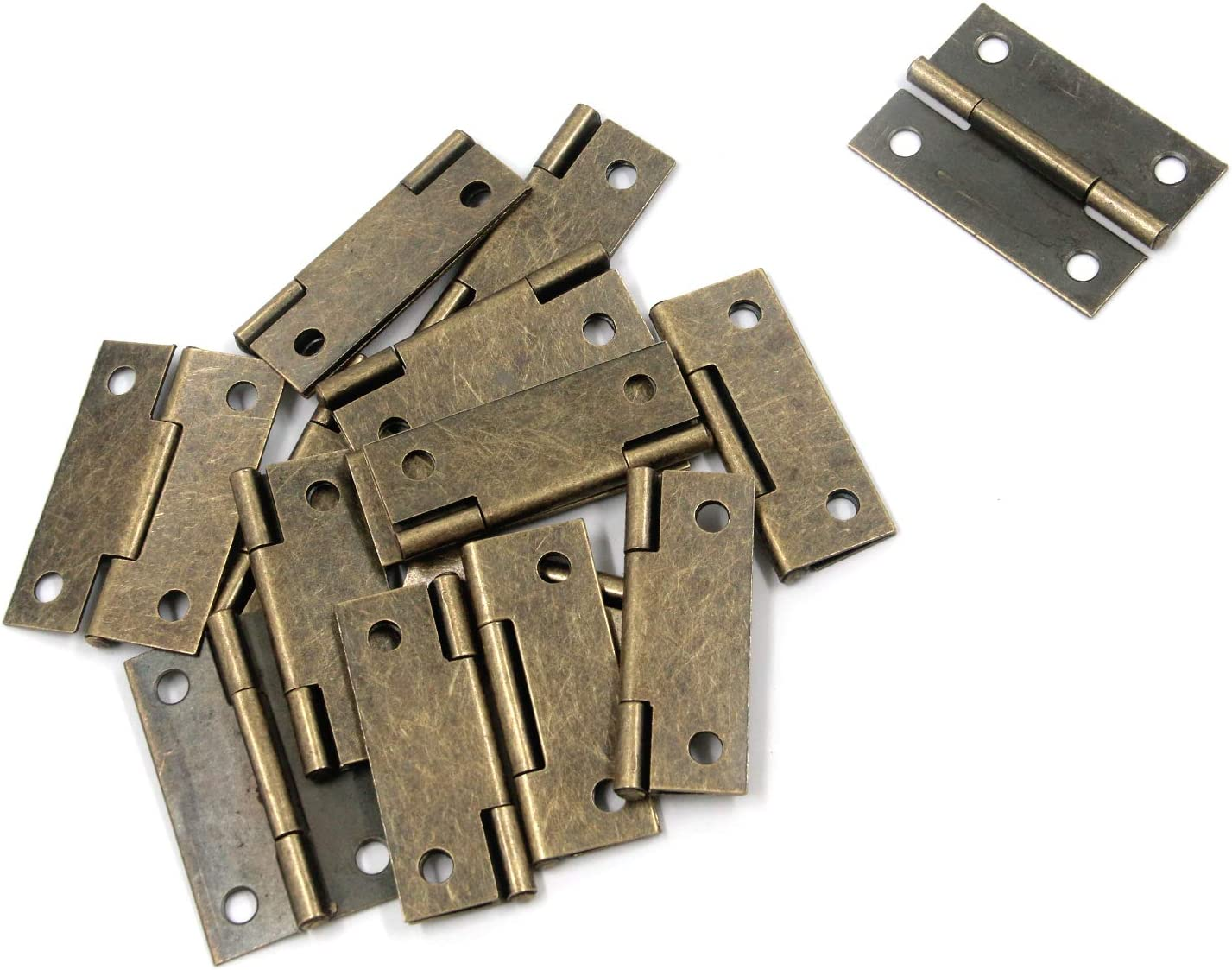 "Tulead Door Hinges Iron Box Hinges Cabinet Hinges Bronze Furniture Hinges 2""x1.33"" Chest Shed Hinges with Mounting Screws Pack of 15"