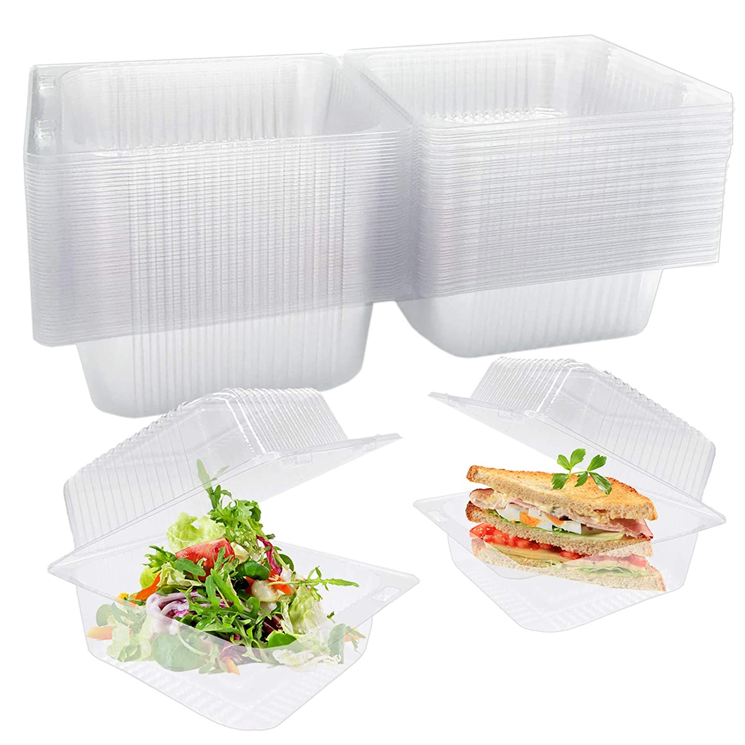 50 Pcs Clear Plastic Take Out Containers,Square Hinged Food Containers,Disposable Clamshell Dessert Container with Lid for Salad,Sandwiches,Hamburger (5x4.7x2.8 in)