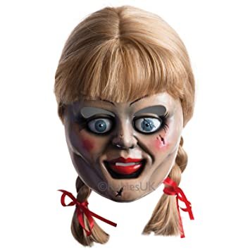 mens womens official annabelle doll mask with wig halloween costume accessory