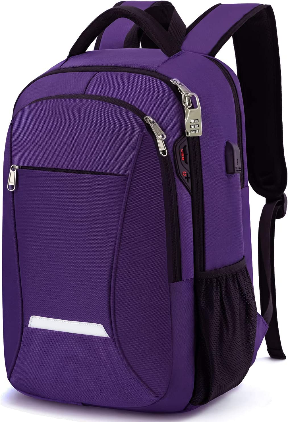 Backpack for Women, Durable Lightweight Anti Theft Travel Laptop Backpack 15.6 Inch with USB Port/Earphone Port, Large Capacity School Backpack for Girls College Student Book Bag, Purple