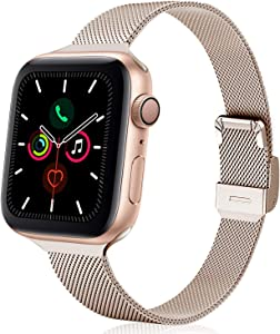 TRA Metal Slim Band Compatible for Apple Watch Band 38mm 40mm 42mm 44mm, Stainless Steel Mesh Adjustable Replacement Thin Strap Wristband for iWatch Series 5/4/3/2/1 Women & Men (Champagne, 38mm/40mm)