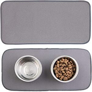 mDesign Premium Quality Microfiber Polyester Pet Food and Water Bowl Feeding Mat for Dogs - Ultra Absorbent Reversible Placemat - Folds for Compact Storage - Small, 2 Pack - Pewter Gray/Ivory