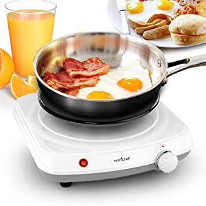 Electric Countertop Single Food Burner - Buffet Hot Plate Dish Warmer with Adjustable Temp, LED Light - Use with Stainless Steel, Cast Iron, Magnetic Cookwares - Home, Camping - NutriChef PKST11