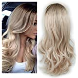 Lady Miranda Ombre Wig Brown to Ash Blonde High Density Heat Resistant Synthetic Hair Weave Full Wigs for Women(T/Ash…