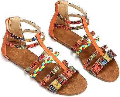gracosy sandaler dam sommar remsandaler färgglada platta romerska sandaler mode sommarskor flip flops Böhmen skor halkfria dragkedja strand sandaler kil sandaler spänne – blå orange