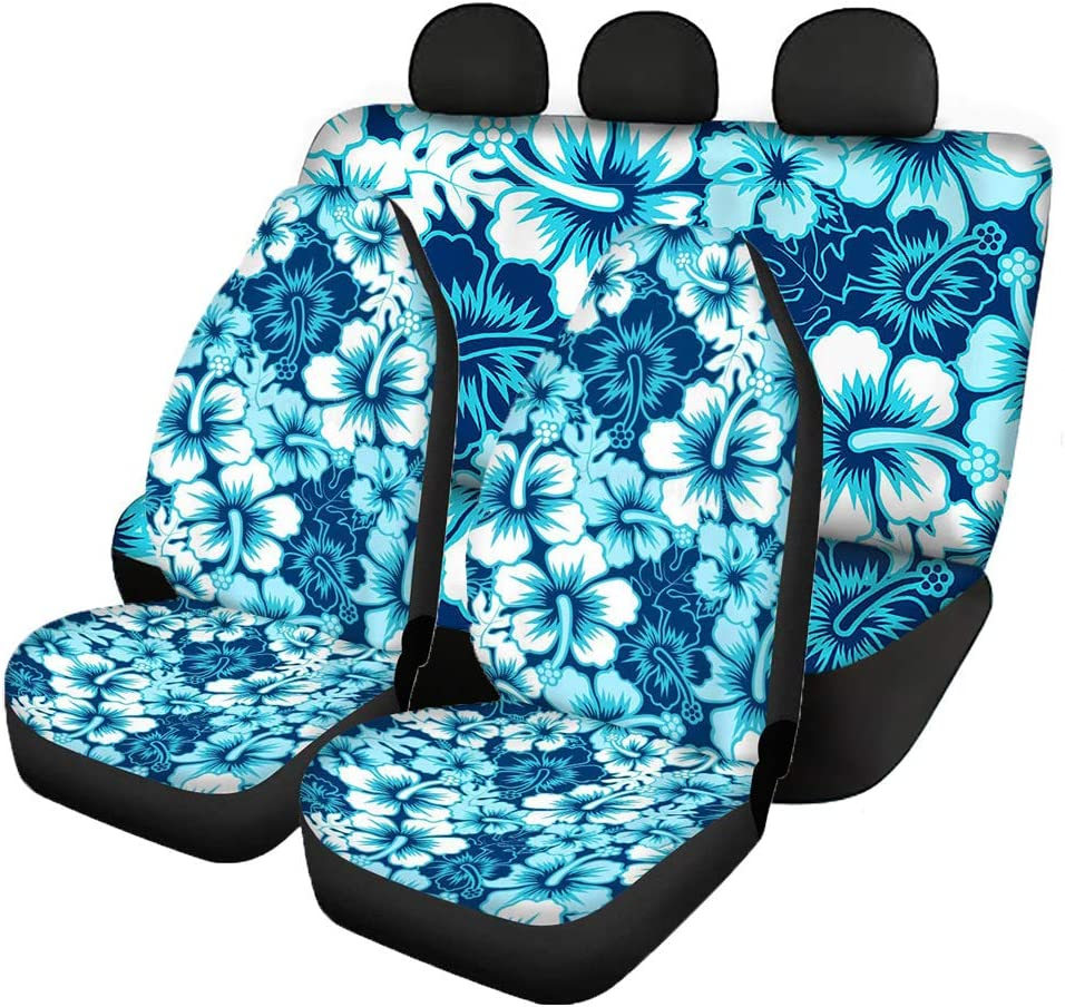 Belidome Sea Turtle Beach Design Universal Interior Seat Covers for Car Women Stretchy Fabric Front Rear Protector for Sedan Van