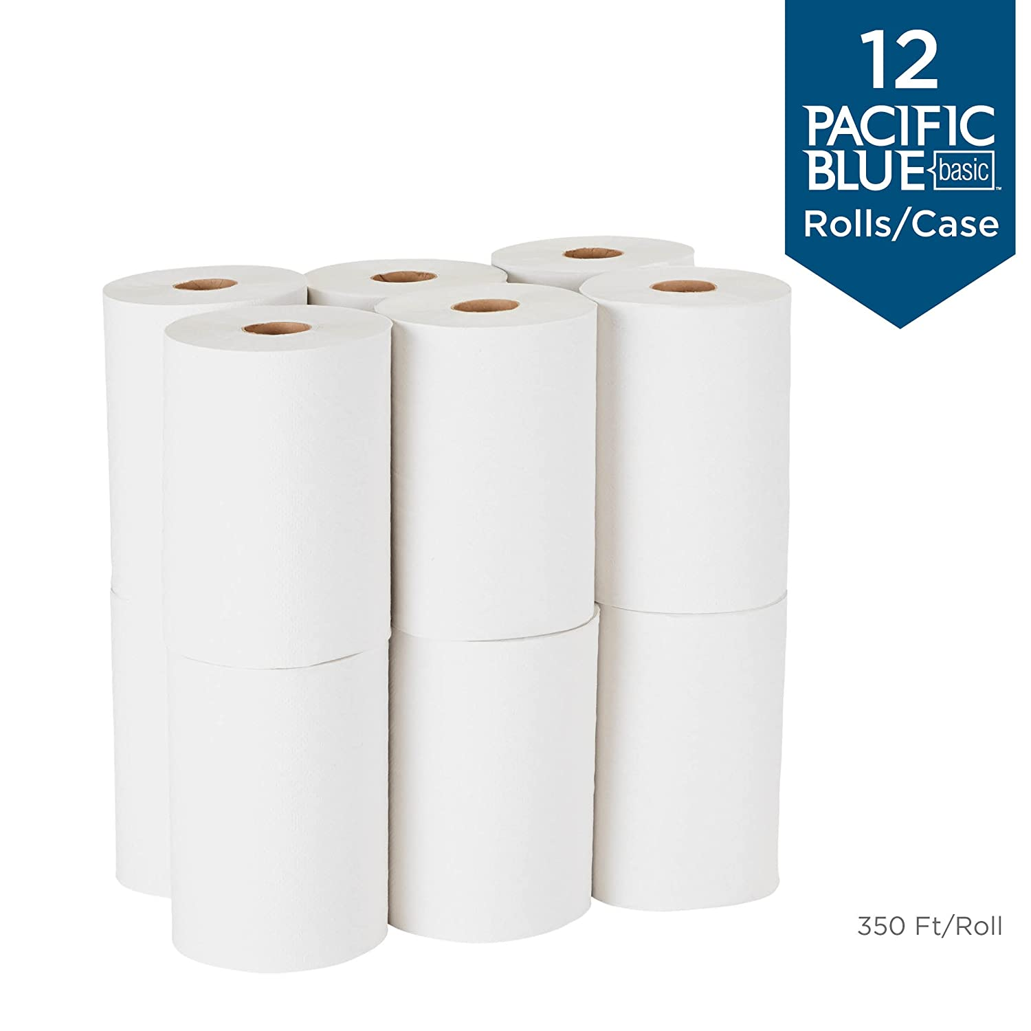by GP PRO Pacific Blue Basic Recycled Hardwound Paper Towel Rolls 6 Rolls Per Case previously branded Envision Georgia-Pacific 26301 800 Feet Per Roll Brown