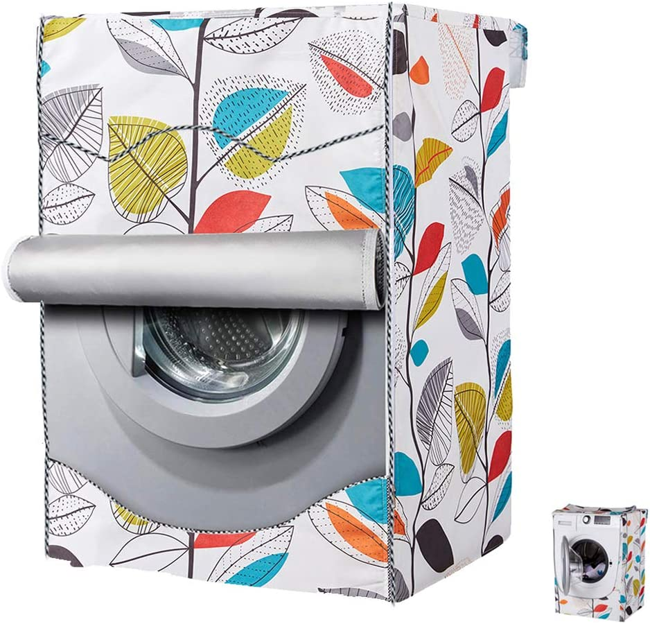 Washing Machine Cover,Washer/Dryer cover For Front-loading Machine Waterproof Dust-proof Thicker with Roll Edge (W27 D33 H39 in,Colorful Leaves)