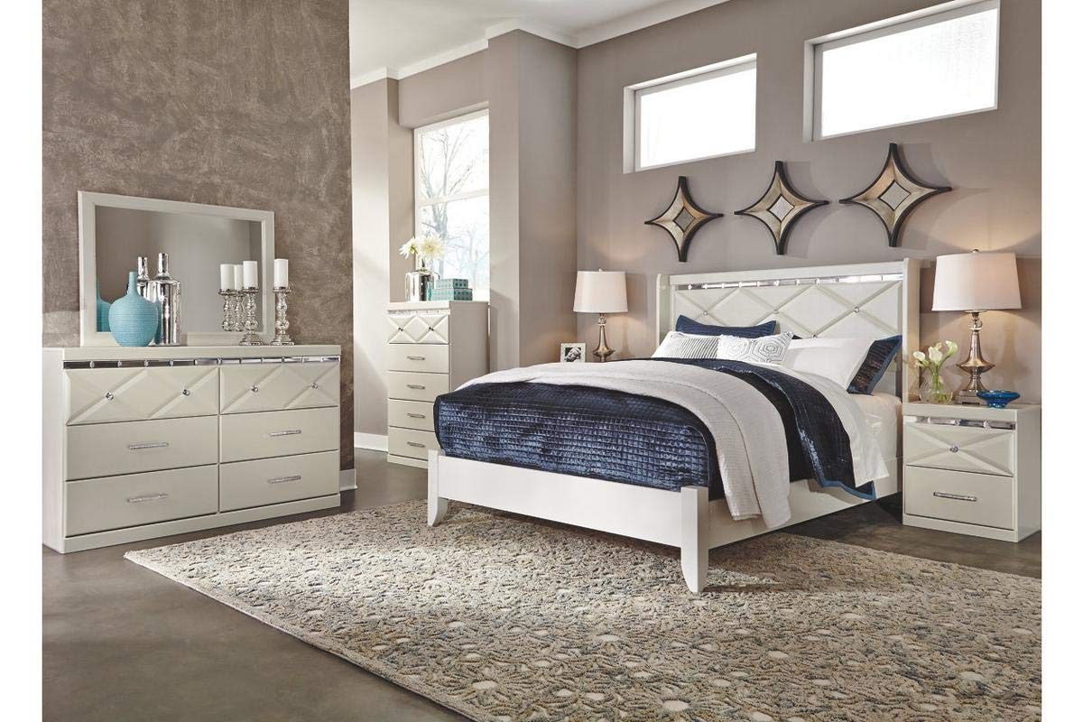 Amazing Buys Dreamur Bedroom Set by Ashley Furniture - Includes, Queen Bed Dresser, Mirror and 1 Night Stand