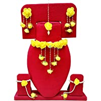 Spectrumjaipur Floret Yellow Gota Patti Necklace, Earrings, Bracelet & Maang Tika For Women & Girls (Mehandi/Haldi)