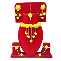 Spectrumjaipur Floret Yellow Gota Patti Necklace, Earrings, Bracelet & Maang Tika For Women & Girls (Mehandi/Haldi)
