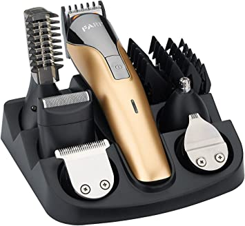 FARI Juego de recortadores de barba, cortapelos recargable, recortador de nariz y kit de afeitadora corporal (Dorado): Amazon.es: Salud y cuidado personal