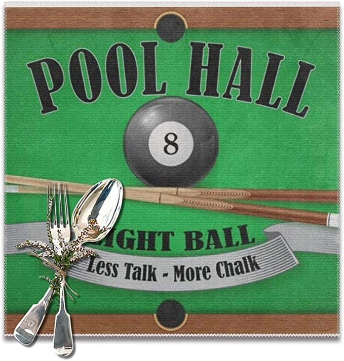 Hipiyoled Billiard Poster Pool Hall Eight Ball Placemats for Dining Table,Washable Placemat Set of 6 12x12 Inches: Amazon.es: Hogar