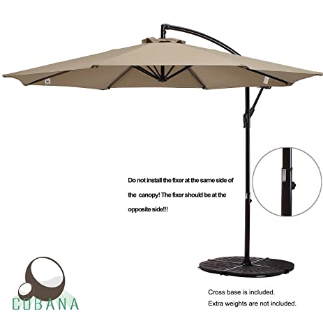 COBANA 10 Ft Patio Umbrella Offset Hanging Umbrella Outdoor Market Umbrella  Garden Umbrella, 250g/