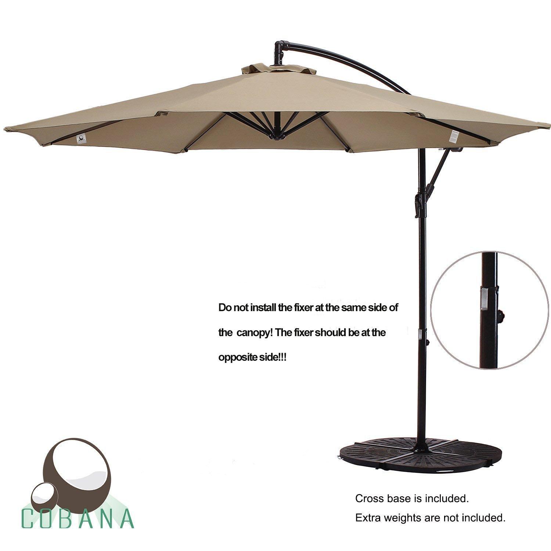 COBANA 10 Ft Patio Umbrella Offset Hanging Umbrella Outdoor Market Umbrella Garden Umbrella, 250g/sqm Polyester, Beige