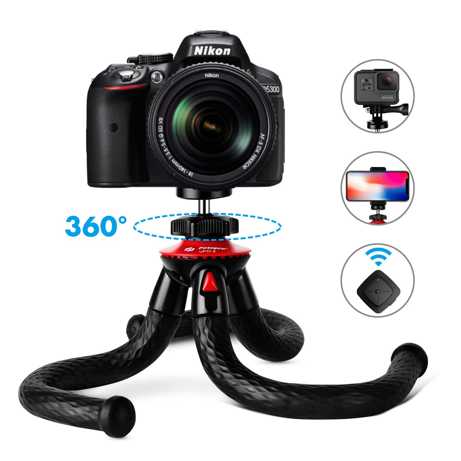 Fotopro UFO2 Set Tripods for Phone, 12'' Flexible Tripod with Bluetooth for iPhone Xs, Samsung, Waterproof Tripod for Time-Lapse Photography, 360 Degree Spherical Tripod for GoPro, Black by Fotopro