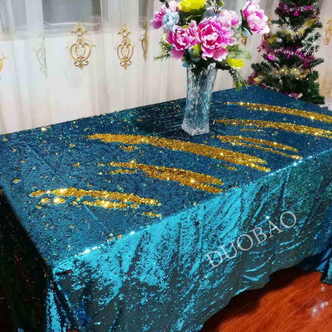 DUOBAO 72x108-InchRectangleSequinTableclothAqua to Gold Mermaid Sequin Table Cover Glitter Table Cloths for Wedding/Party/Kitchen decorations-0612H