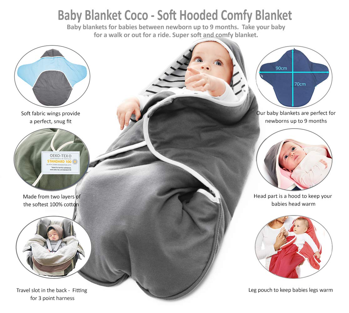 Amazon.com : Wallaboo Baby Blanket Coco, Supersoft 100% Pure Cotton, Multi-Use for Pram or Car Seat and Travel, Newborn upto 10 months, Size: 35 x 28 inch, ...