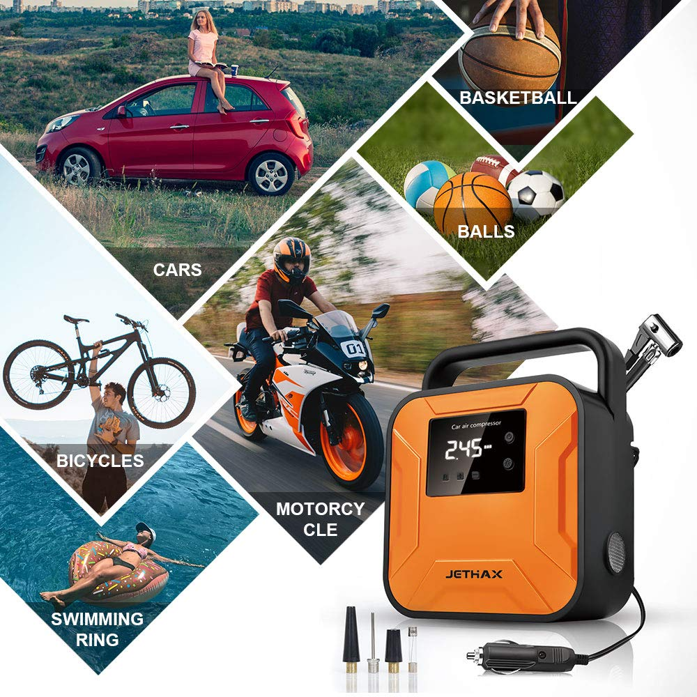 Inflatable Pool Motorcycle Long Cable and Auto Shut Off Compatible with Car 12V Portable Air Pump for Car Tires Tire Pump with LED Light Bicycle Balls JETHAX Air Compressor Tire Inflator