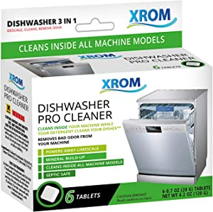 XROM High Efficiency Professional Dishwasher Cleaner 3 in 1 Formula, Removes Odors, Limescale & Detergent Build-Up, Contains 100% More Grease Removal Actives, Removes Hard Water Stains & Lime Scale Build Up, Powerful Descaling, 6 Tablets Count Box.