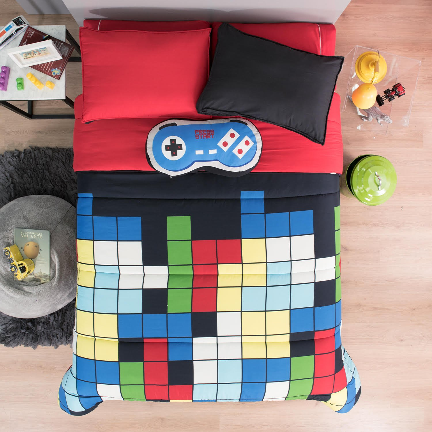 NEW PRETTY COLLECTION GAMER CONSOLE GAME CONTROLLER KIDS BOYS REVERSIBLE COMFORTER SET AND SHEET SET 8 PCS QUEEN SIZE
