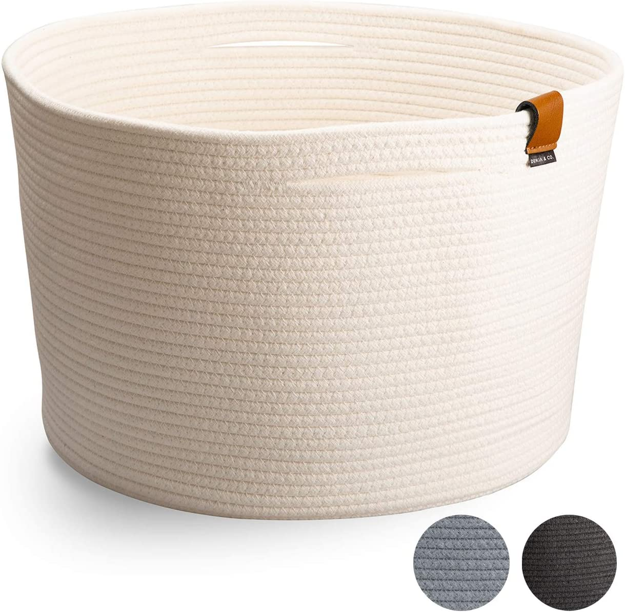 "DENJA & CO Extra Large Toy Storage Basket with Handles (21"" Wide x 13.8"" Tall) 