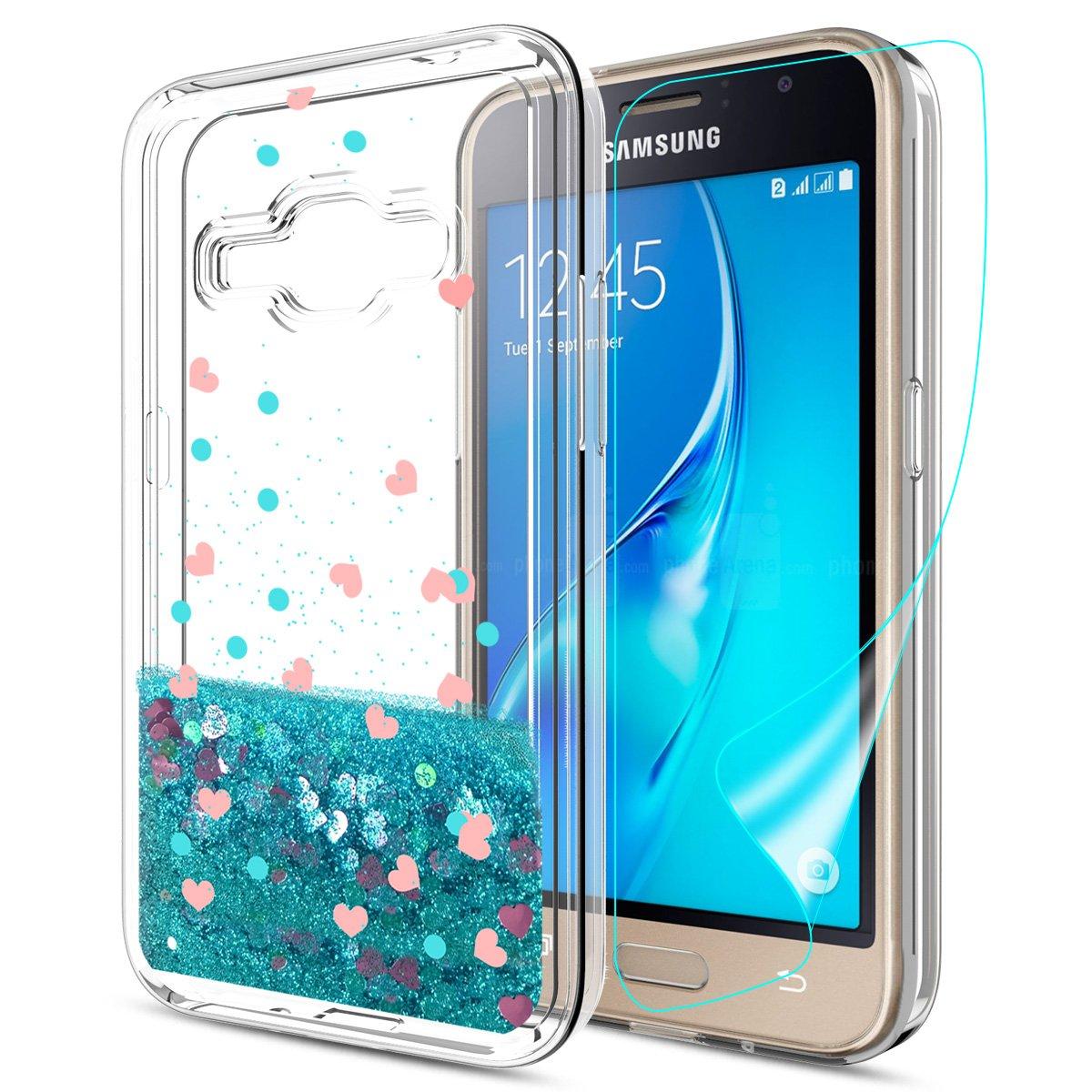 brand new 19c14 7568a Galaxy Express 3 Case, Galaxy Luna Case, Galaxy J1 2016 Case, Galaxy Amp  2?Case With HD Screen Protector For girls,Slook Liquid Glitter TPU Cute  Phone ...