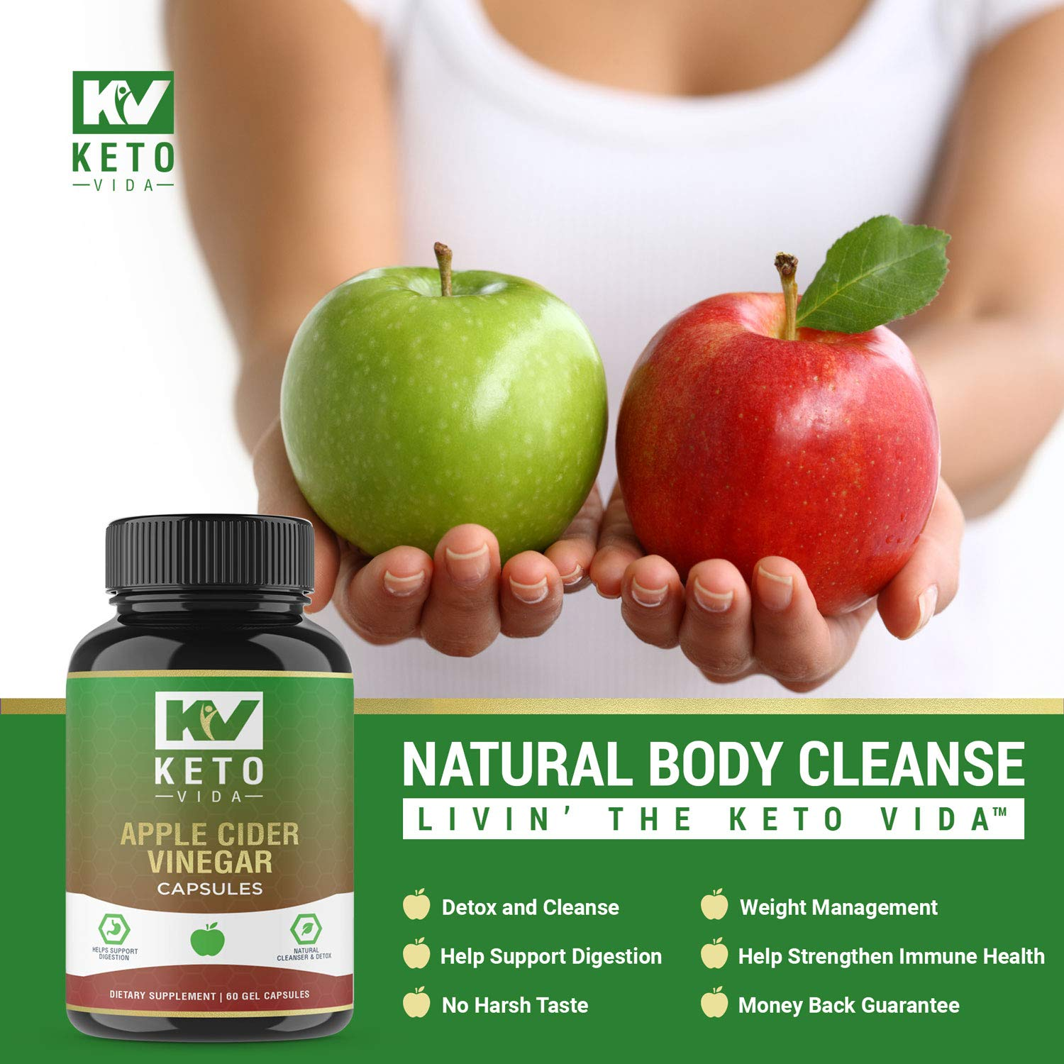 Apple Cider Vinegar Pills - Natural Detox and Weight Loss for Women and Men, Effective Cleanse to Help Digestion and Bloating Relief, Organic Extra Strength ACV Capsules by Keto Vida (Image #5)