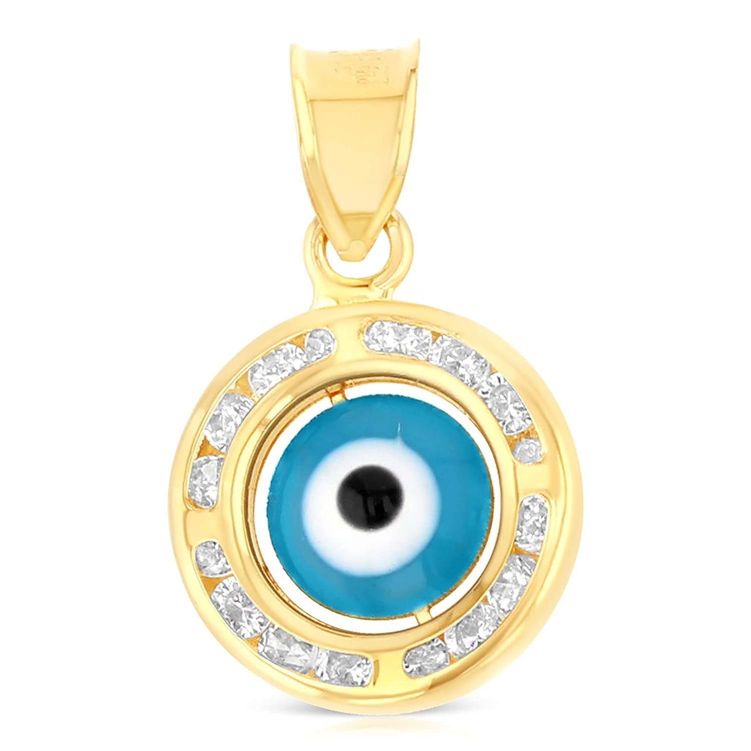 Ioka 14K Tri Color Gold Cubic Zirconia CZ Evil Eye Charm Pendant For Necklace or Chain IG-01-100-1332