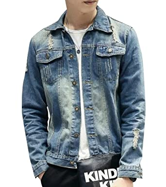 Coolred Men Smart Ripped Hole Slim Casual Fold Collar Denim Jacket