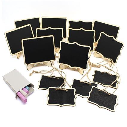 TIMGOU Mini pizarras con soporte, 15 unidades de 3 letreros de madera de estilo rectangular, 5 letreros de encaje y 5 carteles colgantes para boda, ...